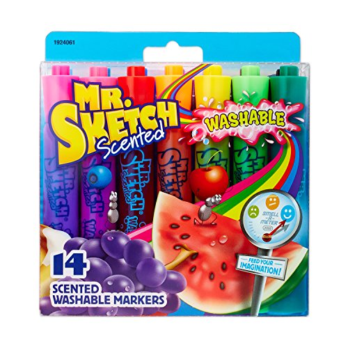 Mr. Sketch 1924061 Washable Scented Markers, Chisel Tip, Assorted Colors, 14-Count by Mr. Sketch