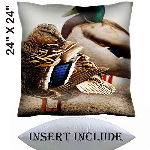 MSD 24x24 Throw Pillow Cover with Insert - Satin Polyester Pillow Case Decorative Euro Sham Cushion for Couch Bedroom Handmade Image ID: 4685320 Female Mallard Duck preening her Feathers ()