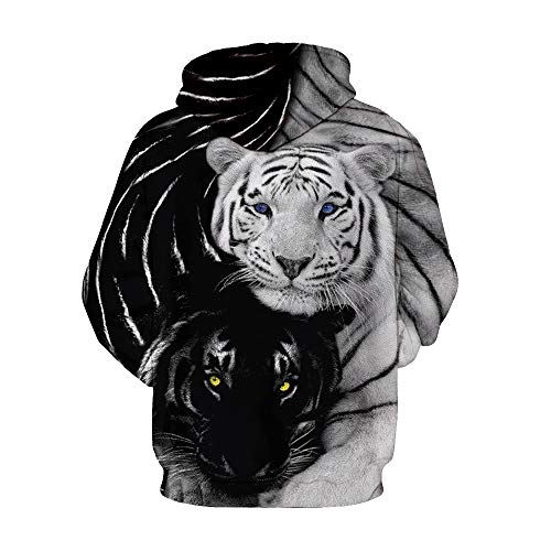 À Capuche Sweat Sweats Black Galaxy Casual 3d shirts Manches White And Imprimé Pull Hoodie Unisexe Takushihf Longues Digital Tiger Printed BA00wq
