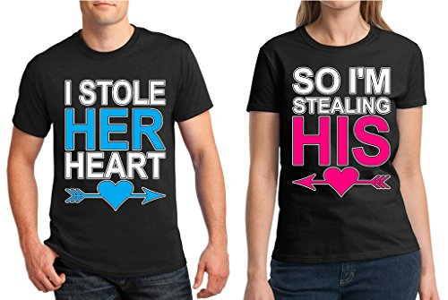 6613fc96cb Matching Couple Shirt I Stole Her Heart So I'm Stealing His T-shirt Black