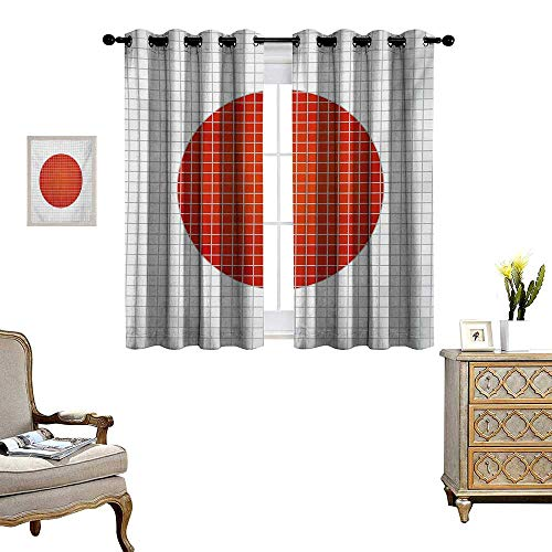 WinfreyDecor Abstract Room Darkening Wide Curtains Mosaic National Flag of Japan Grunge Fractal Background Modern Graphic Print Customized Curtains W55 x L72 Pale Grey Orange (Stainless Japan National)