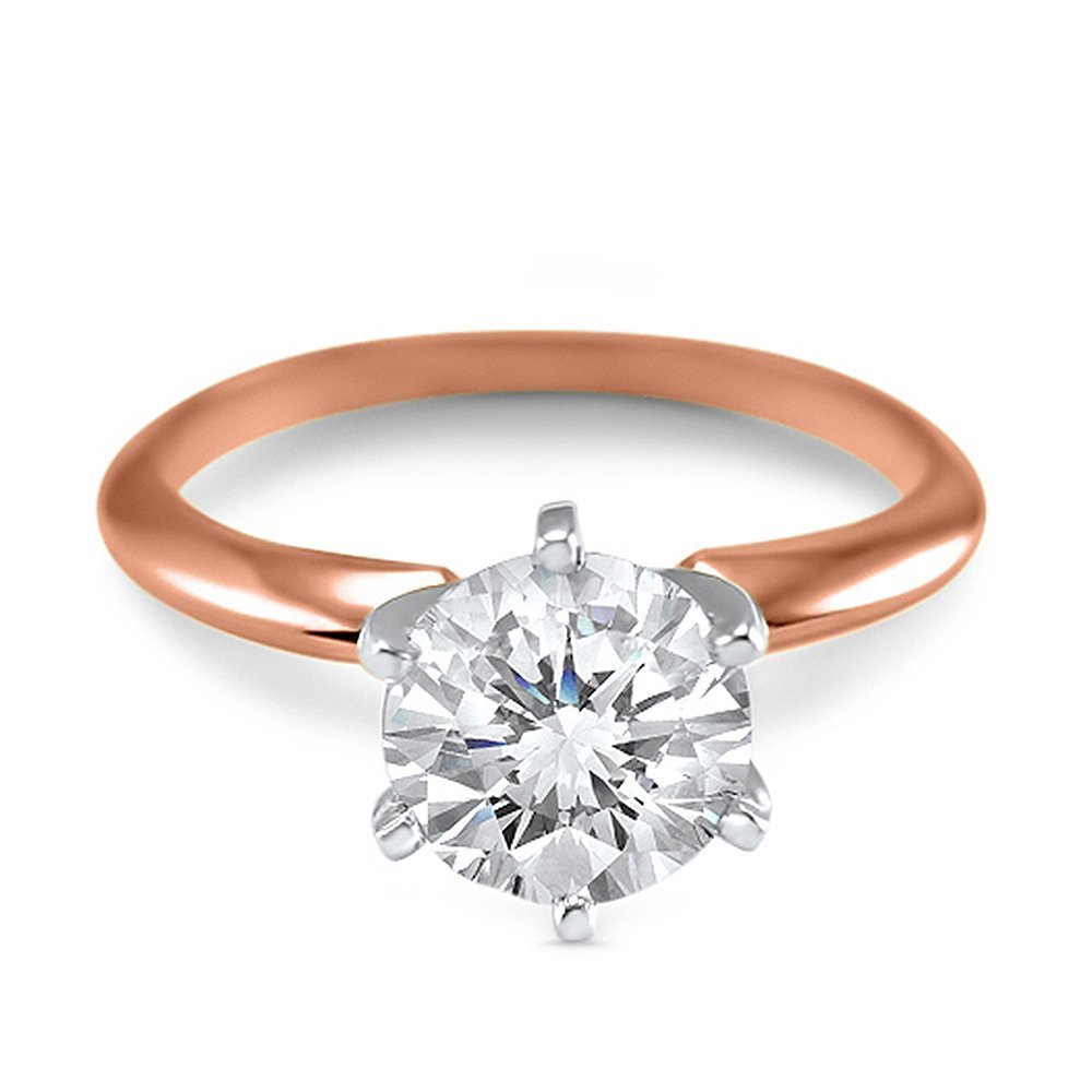 1 Carat 6.5mm round Forever ONE moissanite solitaire engagement ring 14k rose gold 6 prong