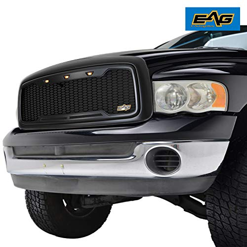 - EAG Replacement ABS Upper Grille LED Front Grill - Matte Black - with Amber LED Lights Fit for 02-05 Dodge Ram 1500/2500/3500