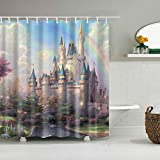 Moorfowl Cinderella Castle Kids Shower Curtian Included 12 Hooks, Waterproof, Anti Mildew Bathroom Curtain Magical Scenic Place Fantasy Fariy Tale
