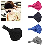 DANMY Young Girl Elastic Flower Printed Head wrap Headband Girls Twist Knotted Hair Band (Headwrap 5pcs)