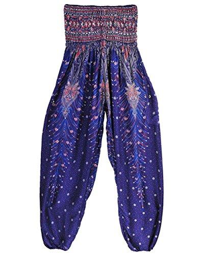 Cute Pattern Elastica Pantaloni Pantaloni Fashion Blau Sciolto Lanterna Di Vintage Stampato Chic Estivi Pantaloni Casuali Hippie Vita Donna Harem Pluderhose Lila Pantaloni Eleganti Aladin 0qx7YdwYna