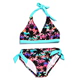 DAYU Hawaii Style Coconut Tree Printed Halter Strap Two Piece Bikini Set for Girls