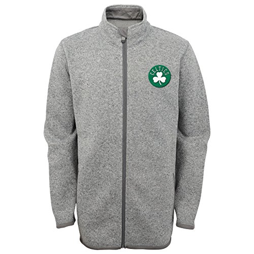 NBA Youth Boys 8-20 Celtics Full Zip Sweater Knit Fleece Jacket-Kelly-M(10-12) Celtic Full Zip Jacket