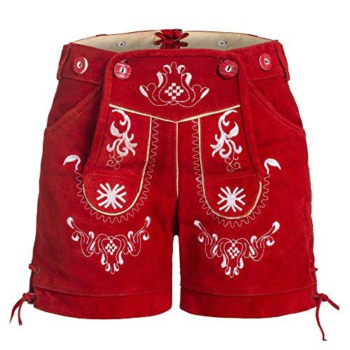 Damen Trachten Lederhose mit Trägern Rot 44