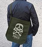 Space Pirate Captain Harlock Renewal - Harlock Skull Shoulder Tote Bag Moss