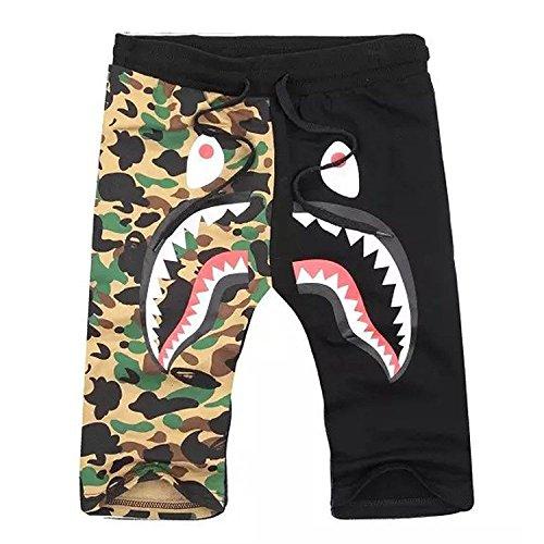 Shark Pattern Camouflage Stitching Shorts Men Drawstring Black Sports Shorts (Medium, Camo-Black)