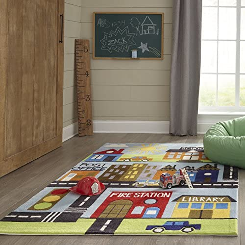 Momeni Rugs Lil Mo Whimsy Collection, Kids Themed Hand Carved Tufted Area Rug, 2 x 3 , Town Scene