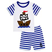 Mombebe Baby Boys' 2 Piece Pirate Stripe Short Clothing Set (6-12 Months, Navy)