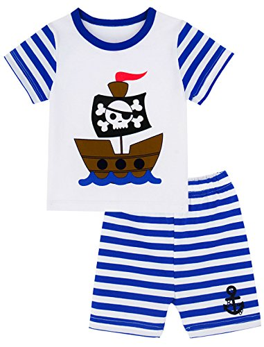 Mombebe Baby Boys' 2 Piece Pirate Stripe Short Clothing Set (18-24 Months, Navy)