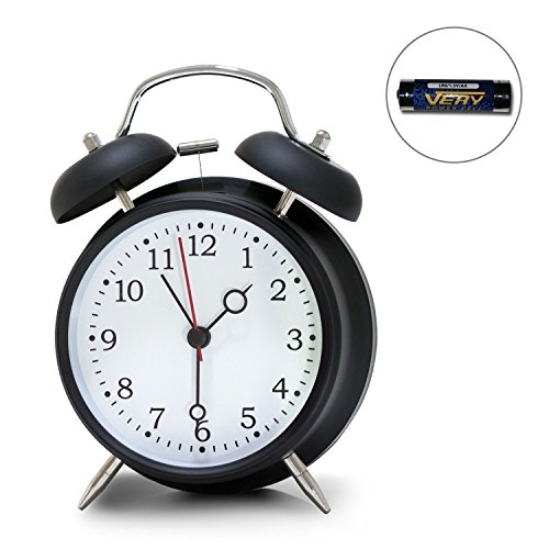 4 Twin Bell Alarm Clock, Loud Retro Alarm Clock, Battery Operated with Nightlight for Bedroom