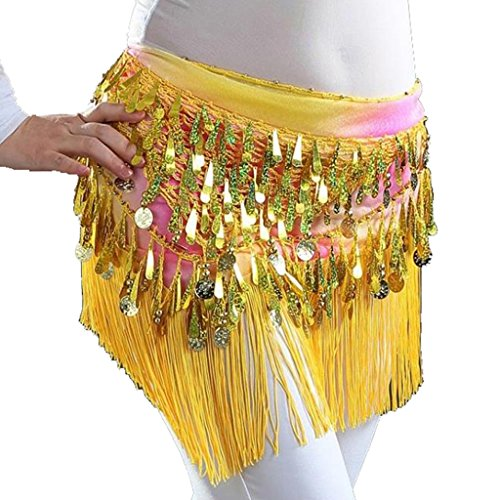 (MUNAFIE Belly Dancing Belt Colorful Waist Chain Belly Dance Hip Scarf Belt Triangle Skirt (Yellow))