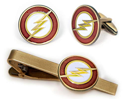 SharedImagination Flash Tie Clip, The Justice League Cufflinks, DC Comics Jewelry, Batman vs Superman Logo Cuff Links Link, Marvel Avengers Tie Tack, Groomsmen Gift Wedding Party