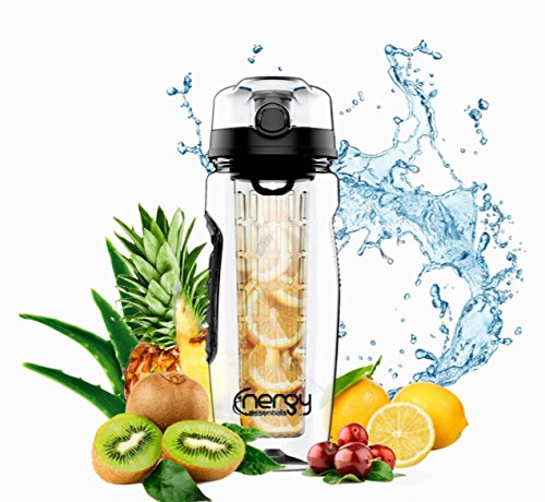 Energy Essentials Fruit Infuser Water Bottle 32 oz Black