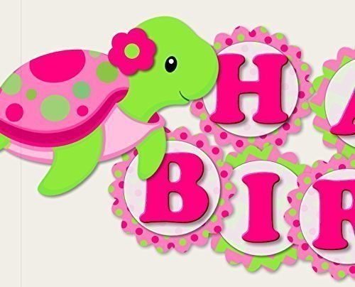 Turtle Birthday Banner Party Decoration Supplies for Girl