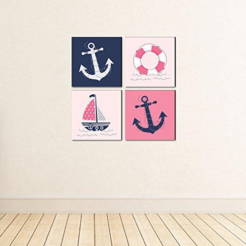 "Ahoy - Nautical Girl - Kids Room, Nursery & Home Decor - 11"" x 11"" Kids Wall Art - Set of 4 Prints"
