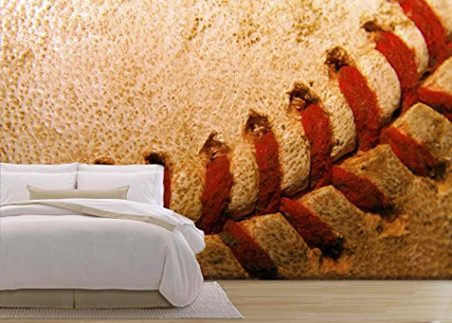 wall26 - Closeup of an Old Used Baseball - Removable Wall Mural | Self-adhesive Large Wallpaper - 66x96 inches