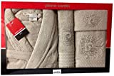 M / L Beige Logo Squiggle Pierre Cardin 4 Piece Bathrobe & Towel Set, Embroidered Pale Light Brown - 100% Cotton Designer Bathrobe, Guest Towel, Bath Towel, Bath Sheet by Pierre Cardin