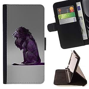 Momo Phone Case / Flip Funda de Cuero Case Cover - León Púrpura Gris Rey naturaleza animal - Samsung Galaxy A5 ( A5000 ) 2014 Version