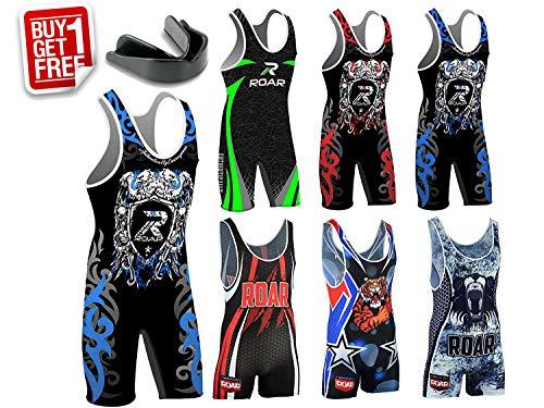 (Roar Athletic Men's Wrestling Singlet Suit Bodywear Uniform (Eagle Blue, Large))