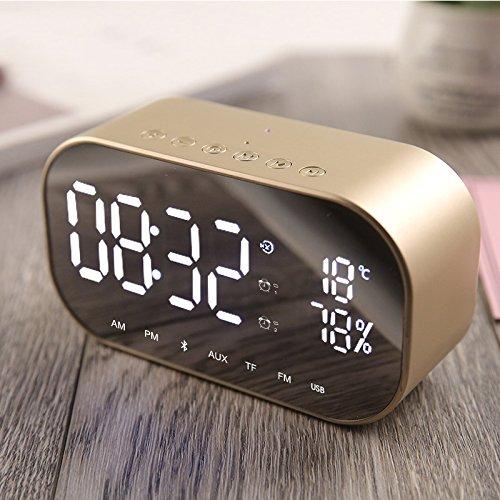 TTAototech Wekker met Bluetooth-luidspreker, multifunctionele thermometer Handsfree bellen Muziek MP3-speler, instelbare…