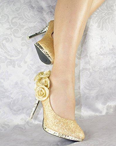 Getmorebeauty Kvinner Rose Blomst Krystall Glitter Bryllup Sko Gull