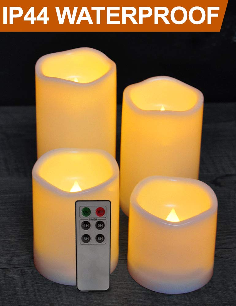 HOME MOST Set of 4 WATERPROOF Outdoor LED Pillar Candles with Remote (CREAM, 3''/4''/5''/6'' Tall, Wavy Edge) - Outside Candles Flameless Candles with Timer Candles Battery Operated - Home Decor Candles