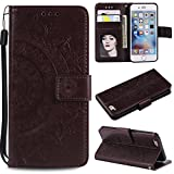 PU Leather Flip Case for iPhone 6S/iPhone 6,Shinyzone Elegant Embossed Mandala Pattern Wallet Case with Card Slots Magnetic Closure Silicone Bumper Shockproof Cover,Brown