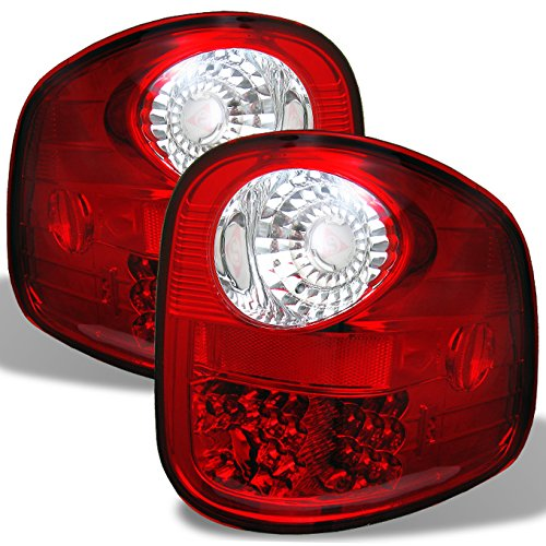 1997-2003 Ford F150 F-150 Pickup Truck Flareside Model LED Tail Lights Lamp Pair Red Clear