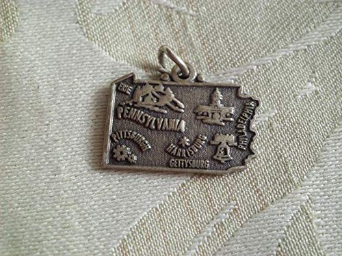 Worlds Natural Treasures Vintage Maisel Sterling Pennsylvania State Map Travel Charm