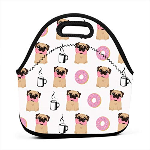 (AGRBLUEN Women Men Kids Reusable Neoprene Insulated Funny Vector Dogs Pug Puppies Pattern Donut Coffee Bento Pouch Durable Keep Cooler and Warm Portable Lunch Tote Bag Insulated Lunch Bag)