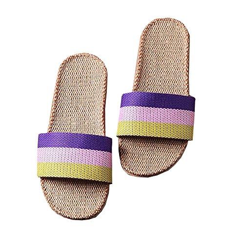 Pantofola Unisex Open-toe Di Lino, Ciabattine Domestiche, Sandali Da Casa Per Lestate Leggera Traspirante Arcobaleno Viola