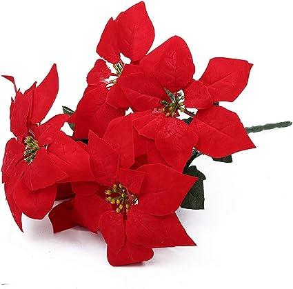 Artificielle Poinsettia GARLAND 170 cm longues feuilles vertes fleurs rouge-Noël