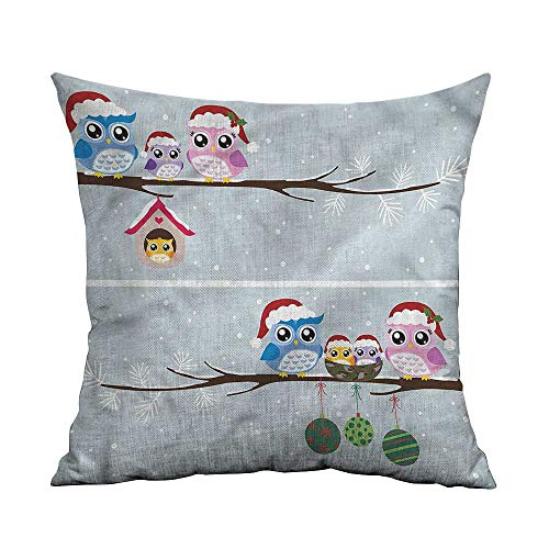 ArrDecor Decorative Pillowcase Throw Pillow,Christmas,Owls with Santa Hats,Throw Pillows for Bed,W 20