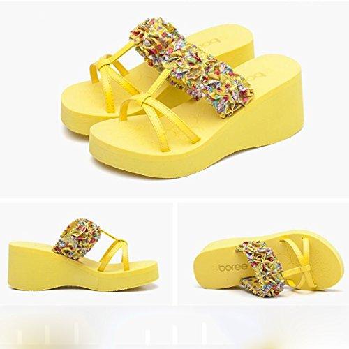 Toe Amarillo Band Clip Elástico Tela Mujer Slope Heels EU36 Sandalias UK3 Heel Antideslizantes PU Verano CN35 5 Mid Tamaño Color Color High Moda Zapatillas qwxYtXY