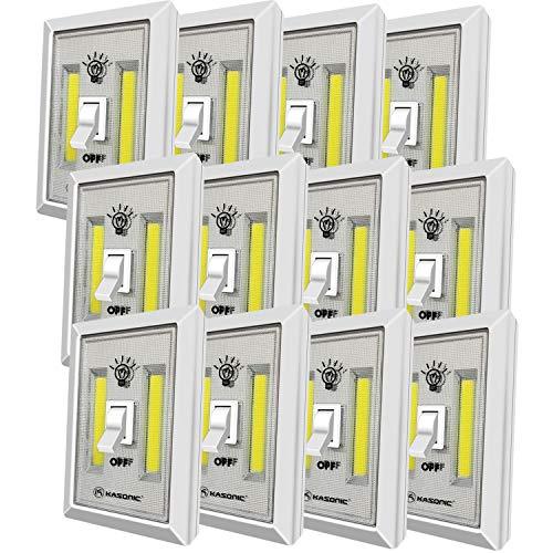LED Night Light, Kasonic 200 Lumen Cordless COB LED Light Switch, Under Cabinet, Shelf, Closet, Garage, Kitchen, Stairwell and More, Battery Operated (12 PACK)