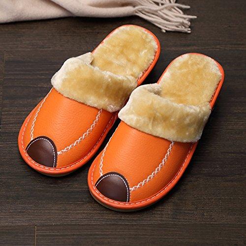 Fankou Indoor pantofole di cotone femmina pacchetto invernale con grazioso personaggio dei fumetti post-pantofole uomini cotone e ,44-45, marrone