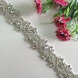 Wedding Rhinestones Pearls Applique, Rhinetones Trim for Dress, Sash, Bridal Applique, Crystal Beaded Applique, Wedding Rhinestone Applique RA