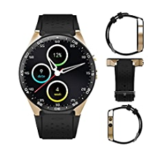3G Smart Watch, Android 5.1 OS, Quad Core support 2.0MP Camera Bluetooth SIM Card WiFi GPS Heart Rate Monitor (Black+Gold)