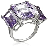 Sterling Silver Pink Amethyst Octagon 3-Stone Large Ring