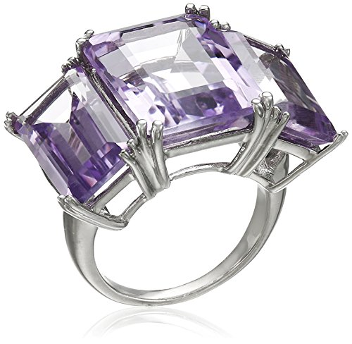 Sterling Silver Pink Amethyst Octagon 3-Stone Large Ring,...