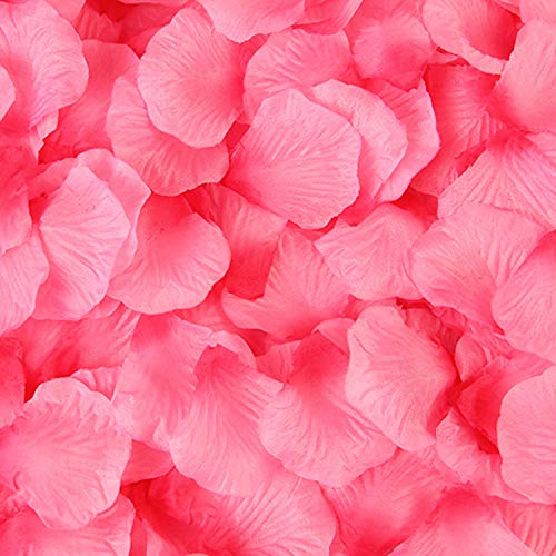 Sorive 3000 Pieces Dark Red Silk Rose Petals Artificial Flower Petals for Wedding Confetti Flower Girl Bridal Shower Hotel Home Party Valentine Day Flower Decoration (Light Rose and deep Rose) ()