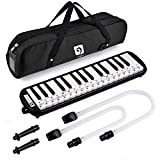 Vangoa Black 32 Key Portable Melodica With Carrying Bag, 2 Mouthpiece, for Music Lovers Beginners