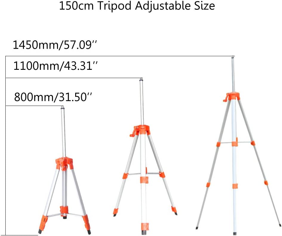 William-Lee 1.5M//1.2M Universal Adjustable Aluminum Alloy Tripod Stand For Laser Air Level With Accurate Blister And Lifting Rocker