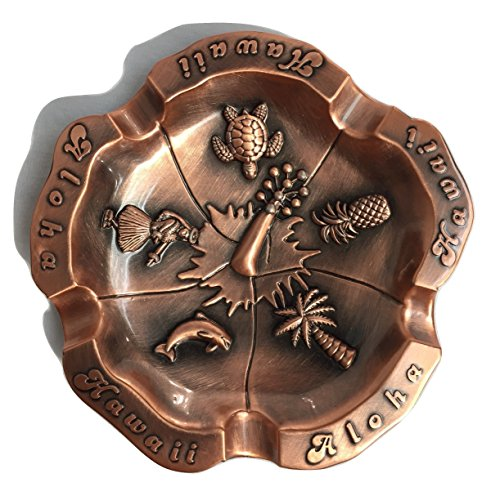 Hawaii Aloha Flowers Tiki Bar (Ashtray Stainless Steel Metal Hibiscus Flower ALOHA HAWAII w/Turtle, Hula Girl, Dolphin, Palm Tree, & Pineapple Design, Copper Color (3.5 inches))