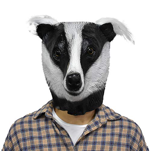 Badger Latex Mask Meles Realistic Animal Head Disguise for Halloween Party Costume Cosplay Prop Black -
